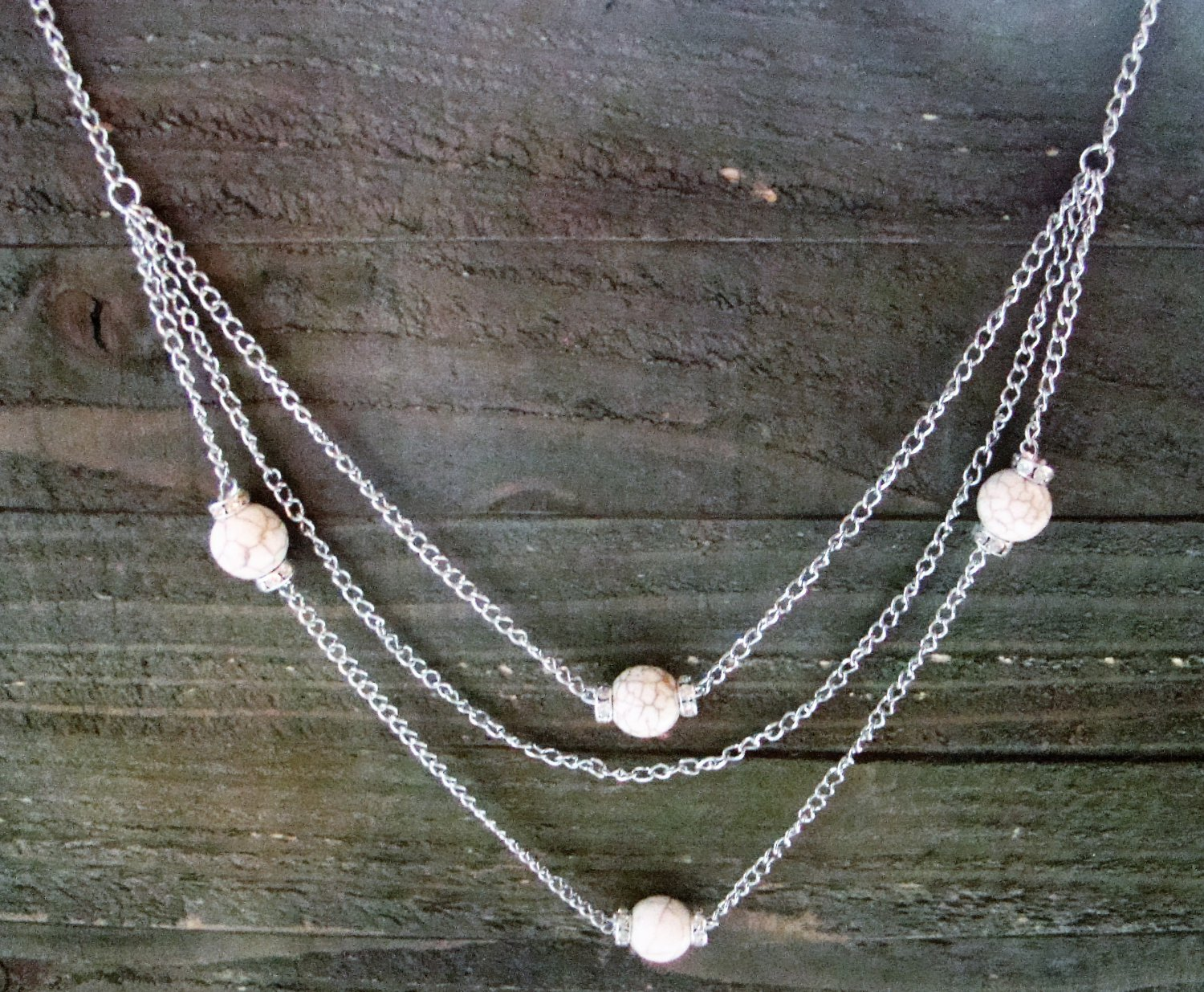 """Long 32"""" 3 Layer Multi White Bead Rhinestones Chain Necklace Cowgirl Fashion Jewelry"""