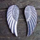Silver Angel Wings Clear Rhinestones Stud Earrings Cowgirl Fashion Jewelry
