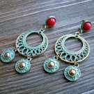 Aztec Chandelier Earrings Gold Tone Turquoise Pantina Red Stud Gypsy Boho Fashion Jewelry