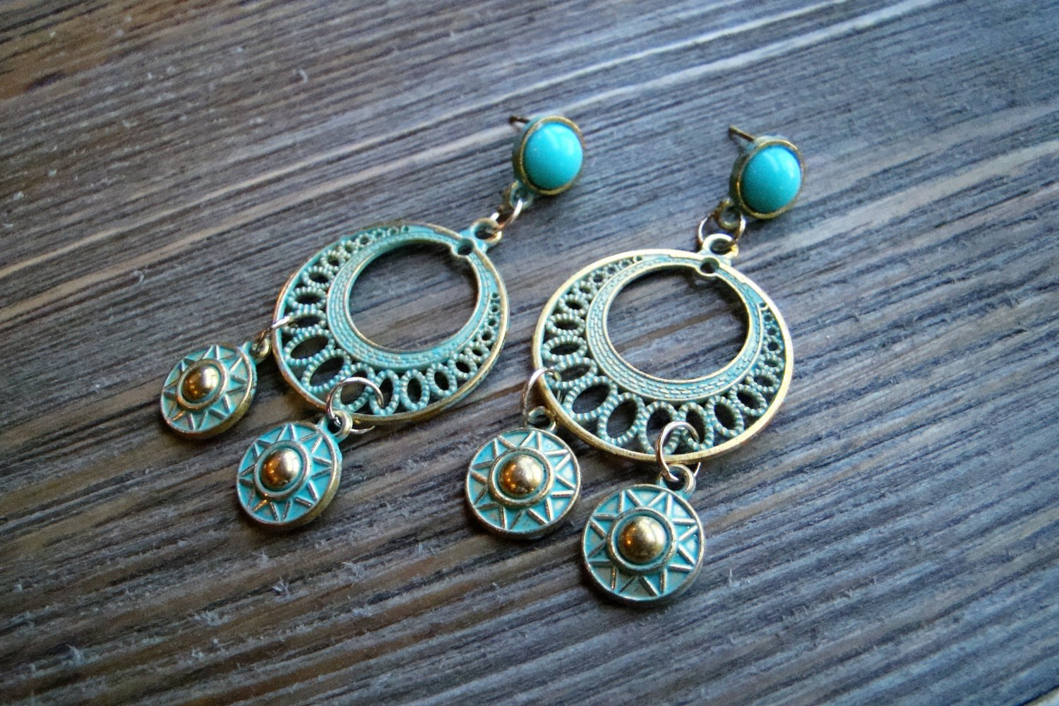 Aztec Chandelier Earrings Gold Tone Turquoise Pantina Blue Stud Gypsy Boho Fashion Jewelry