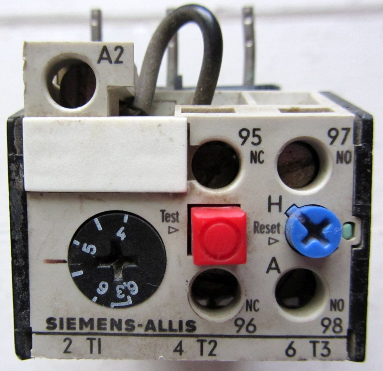 Sie Allis OLR0630CSI1 Overload Relay 4 - 6.3 Amp 1 NO 1 NC Aux 600 on power overload, plug overload, transformers overload,
