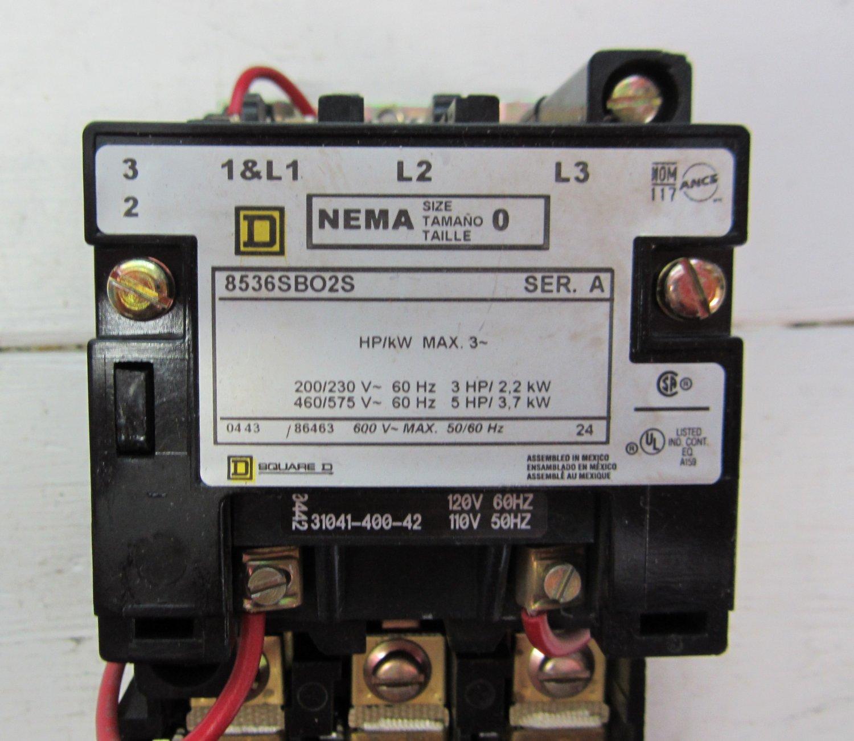 Square d 8536sbo2s motor starter ser a 120 v coil size 0 5 for Square d motor starter