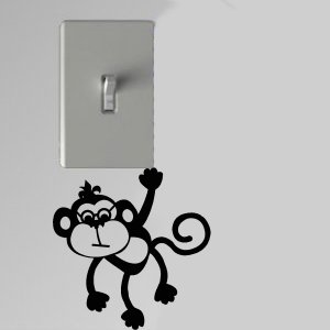 Monkey Wearing Glasses Light Switch Wall Art Vinyl Decal