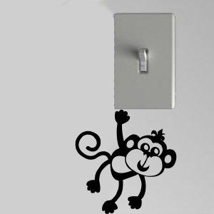 Smiling Monkey Light Switch Wall Art Vinyl Decal