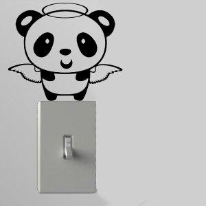 Angel Panda Light Switch Wall Art Vinyl Decal