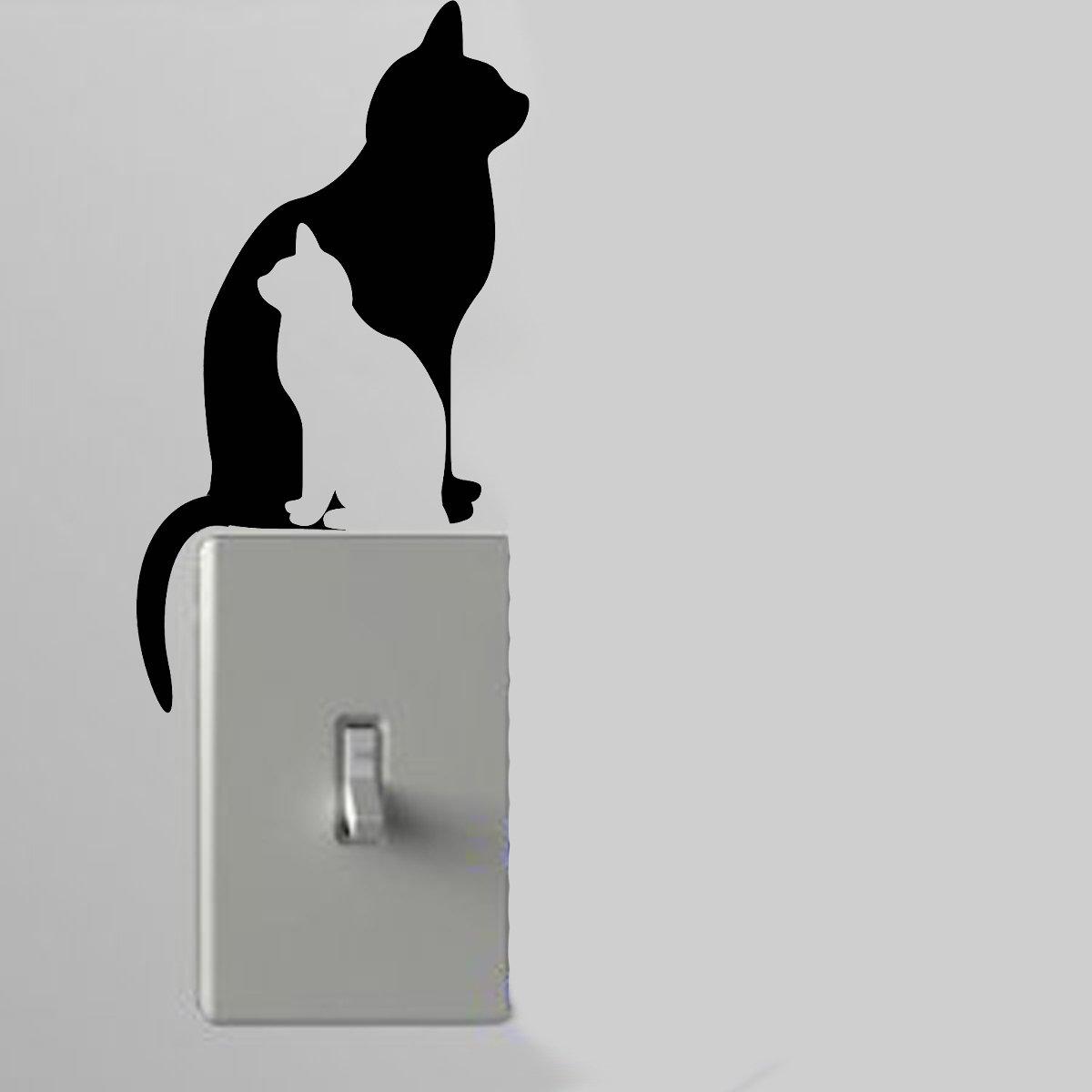 Cat Shadows Light Switch Wall Art Vinyl Decal