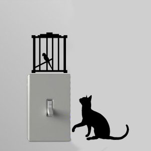 Cat / Birdcage Light Switch Wall Art Vinyl Decal
