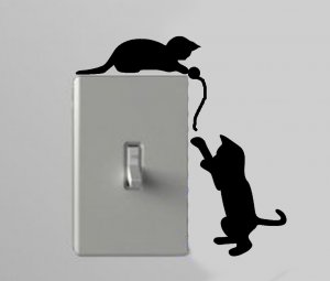 Two Cats Playing With a Ball Of String Light Switch Wall Art Vinyl Decal