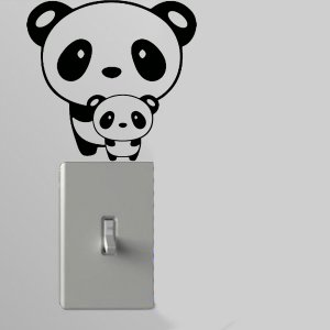 Panda w/Baby Light Switch Wall Art Vinyl Decal