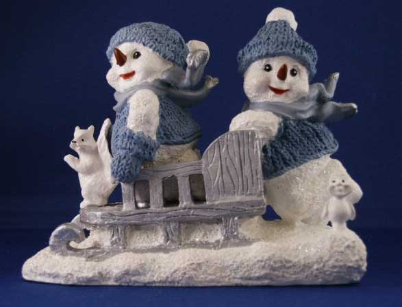Snowmen riding in Sled - Clearance Priced