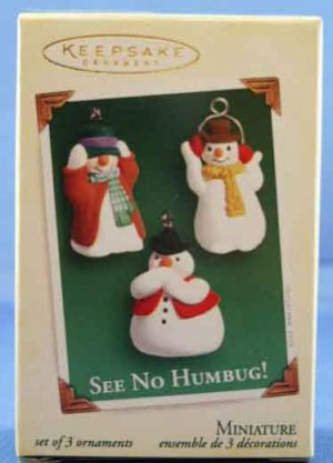 See No Humbug!  Set of 3 Ornaments