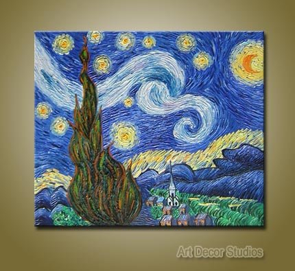"Starry Night by Van Gogh --100% Hand-painted Huge size: 36""x24"""