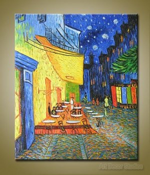 "Cafe Terrace by Van Gogh --100% Hand-painted Huge size: 36""x24"""