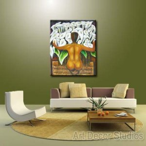 """Nude with Calla Lilies by Diego Rivera --100% Hand-painted Huge size: 24""""x36"""""""
