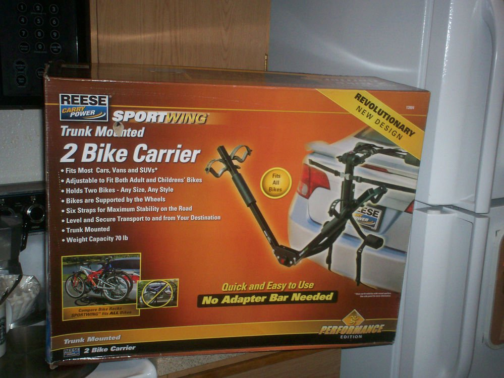$0 USA Shipping With SportWing Reese Trunk Mount 2 Bike Carrier & Fits All Bikes