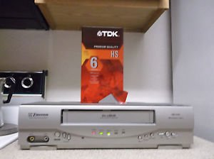 Refurbished Emerson EWV404 19U 4 Head S-VHS Gray VCR With  BlankTDK VHS Tape