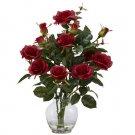 Rose Bush w/Vase Silk Flower Arrangement Red
