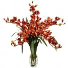 Cymbidium Orchid Silk Flower Arrangement Burgundy