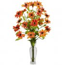 Cosmos w/Vase Silk Flower Arrangement Orange