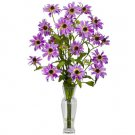 Cosmos w/Vase Silk Flower Arrangement Purple