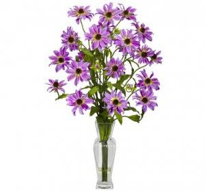 Cosmos w/Vase Silk Flower Arrangement Purple
