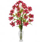 Cosmos w/Vase Silk Flower Arrangement Red