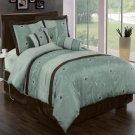 Grand Park Aqua-Blue 11-Piece Bed in a Bag Queen