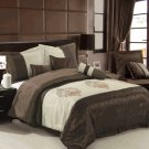 Pacifica Coffee/Beige 7-Piece comforter set Queen