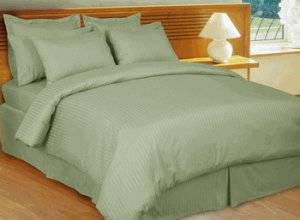 Stripe Sage-Green Down Alternative bed in a Bag, 100% Egyptian cotton, 600 Thread count Full