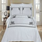 Athena White & Black Embroidered Duvet cover Set Egyptian Cotton Full/Queen