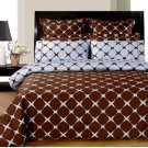 CAL/KING Chocolate and Blue 8PC Bloomingdale Duvet covers & sheet Set Egyptian Cotton