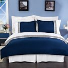 Astrid Navy Blue & White Embroidered 3-Piece Duvet Cover Set Full/Queen