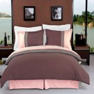 Astrid Taupe & Beige Embroidered Luxury Bedding 3-Piece Duvet Cover Set Full/Queen