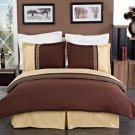 Astrid Gold & Chocolate Embroidered 3-Piece Duvet Cover Set Full/Queen