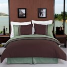 Astrid Sage & Chocolate Embroidered 3-Piece Duvet Cover Set Full/Queen