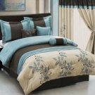 Pasadena Blue Metallic Coffee 7-Piece Comforter Set King