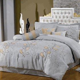 Silver Linen Oversized 7-Piece Comforter Set Queen