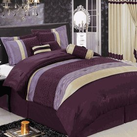 Sonata Purple 7-Piece Comforter Set California King