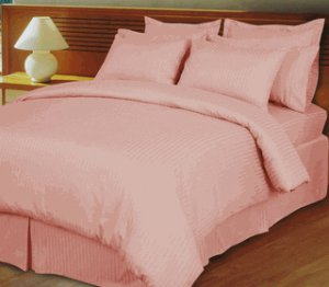 Pink/Blush Damask Stripe Down Alternative 4-PC comforter set, Egyptian cotton, 600 count Full/Queen