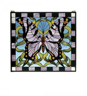"Meyda Tiffany 25""W X 23""H Butterfly Stained Glass Window"