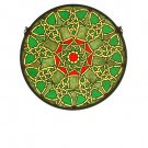 """20""""W X 20""""H Knotwork Trance Medallion Stained Glass Window"""