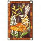 """20""""W X 32""""H Tropical Floral Stained Glass Window"""