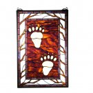 "17.5""W X 26.5""H Bear Tracks Stained Glass Window"