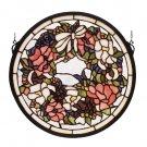 """15""""W X 15""""H Wreath Stained Glass Window"""