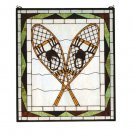 "26""W X 30""H Snowshoes Stained Glass Window"