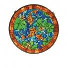 """24""""W X 24""""H Koi Pond Lily Stained Glass Window"""