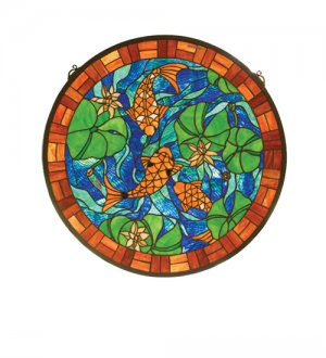 "24""W X 24""H Koi Pond Lily Stained Glass Window"