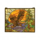"20""W X 16""H Eagle At Sunset Stained Glass Window"