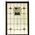 """17""""W X 25""""H Sailboat Wood Frame Stained Glass Window"""