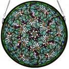 "22""W X 22""H Dragonfly Swirl Medallion Window  Stained Glass"